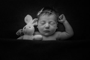 Newborn Sleeping with Bunny